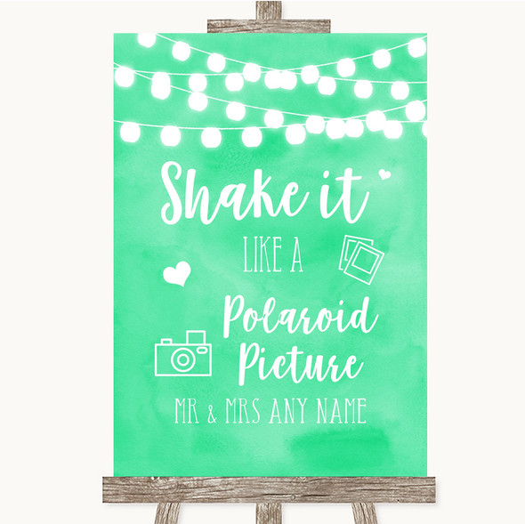 Mint Green Watercolour Lights Polaroid Picture Personalised Wedding Sign