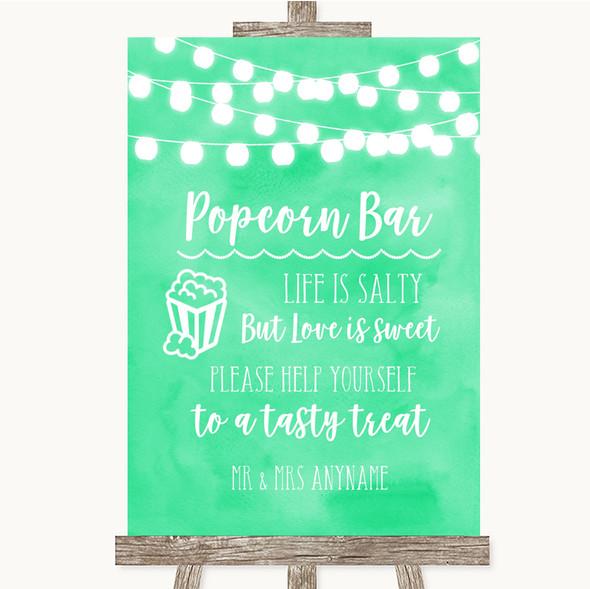 Mint Green Watercolour Lights Popcorn Bar Personalised Wedding Sign