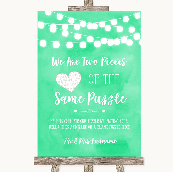 Mint Green Watercolour Lights Puzzle Piece Guest Book Personalised Wedding Sign