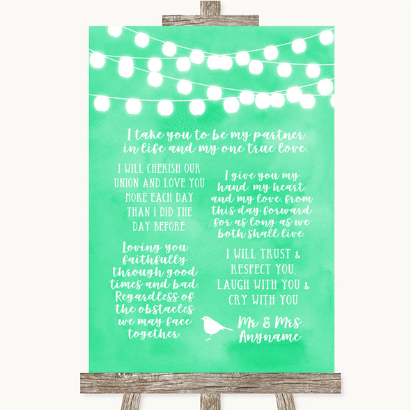 Mint Green Watercolour Lights Romantic Vows Personalised Wedding Sign