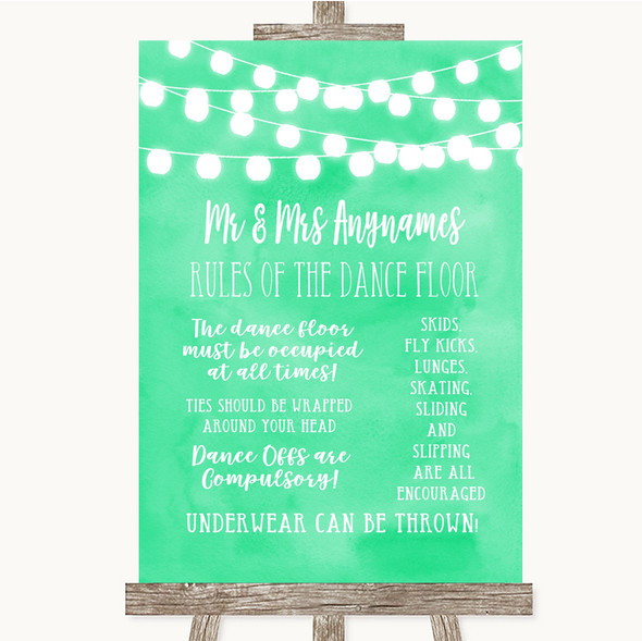 Mint Green Watercolour Lights Rules Of The Dance Floor Personalised Wedding Sign