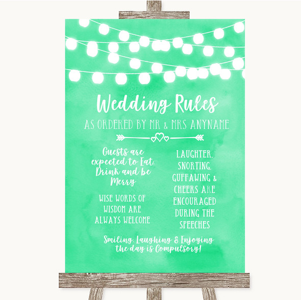 Mint Green Watercolour Lights Rules Of The Wedding Personalised Wedding Sign