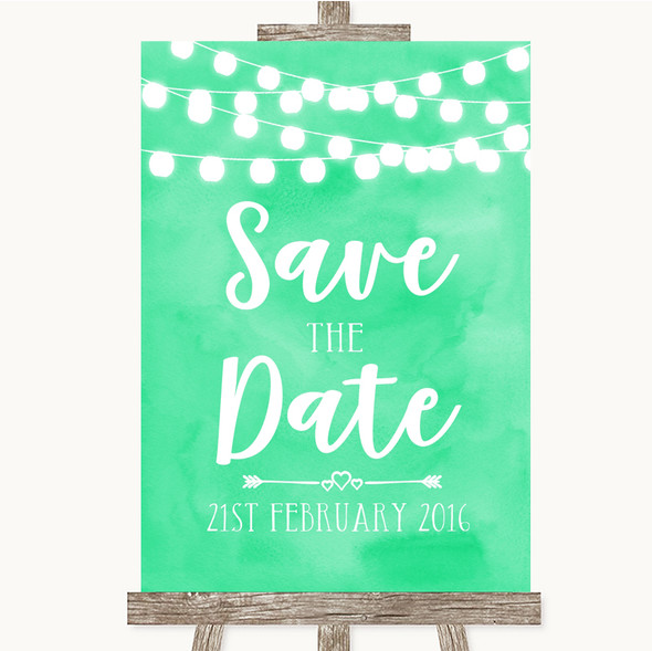 Mint Green Watercolour Lights Save The Date Personalised Wedding Sign
