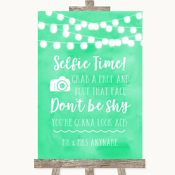 Mint Green Watercolour Lights Selfie Photo Prop Personalised Wedding Sign