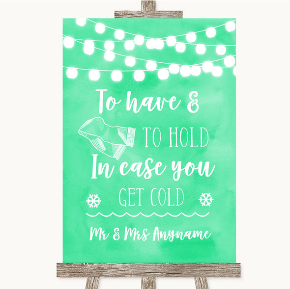 Mint Green Watercolour Lights Wedding Blanket Scarf Personalised Wedding Sign
