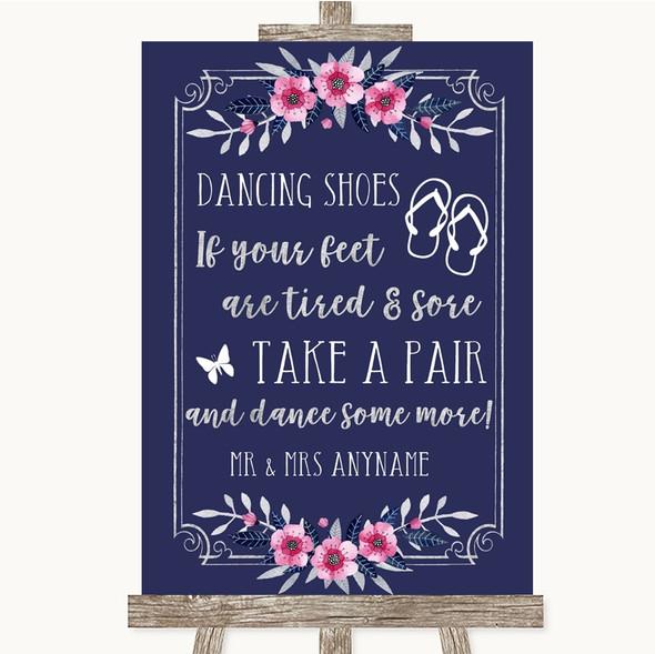 Navy Blue Pink & Silver Dancing Shoes Flip Flops Personalised Wedding Sign