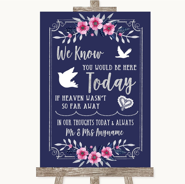 Navy Blue Pink & Silver Loved Ones In Heaven Personalised Wedding Sign