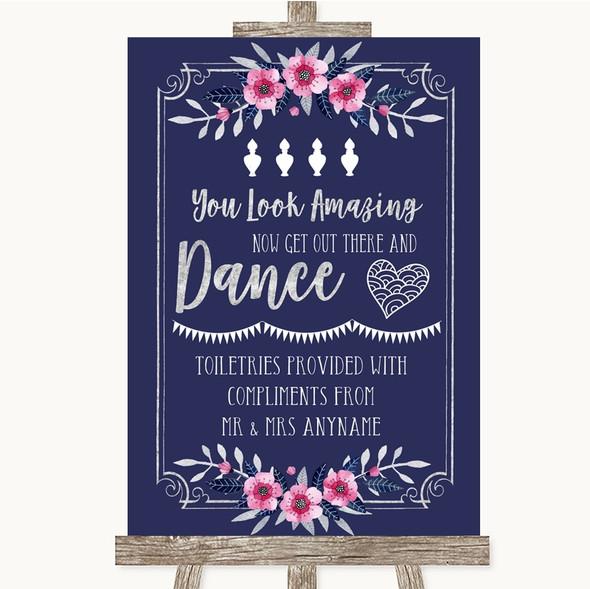Navy Blue Pink & Silver Toiletries Comfort Basket Personalised Wedding Sign