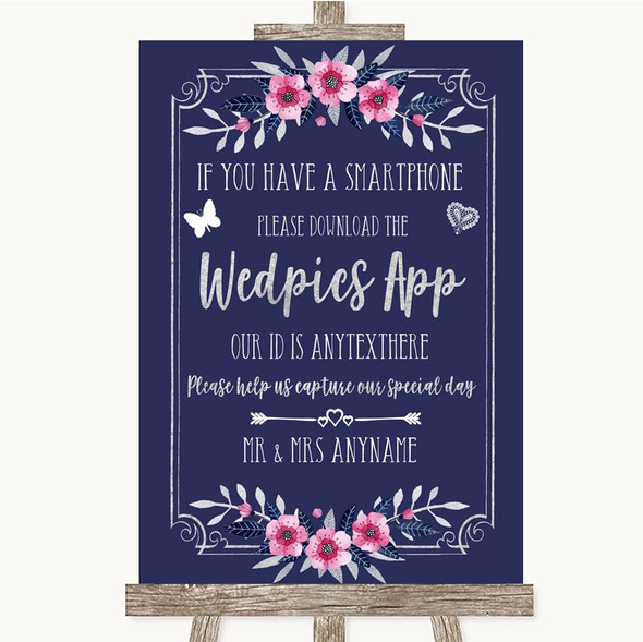 Navy Blue Pink & Silver Wedpics App Photos Personalised Wedding Sign