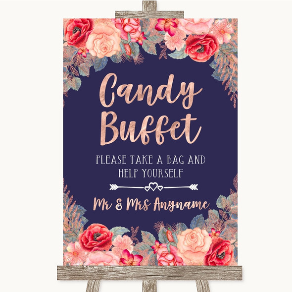 Navy Blue Blush Rose Gold Candy Buffet Personalised Wedding Sign
