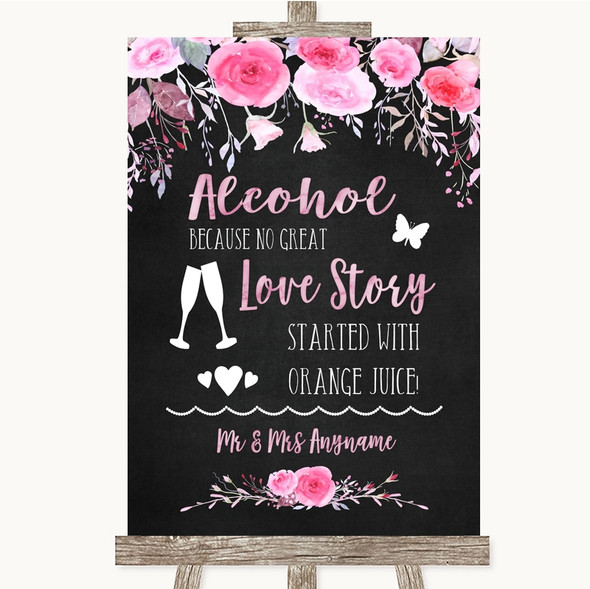 Chalk Style Watercolour Pink Floral Alcohol Bar Love Story Wedding Sign