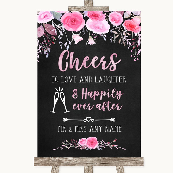 Chalk Style Watercolour Pink Floral Cheers To Love Personalised Wedding Sign