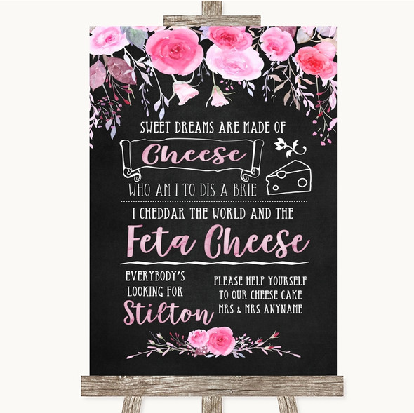 Chalk Style Watercolour Pink Floral Cheesecake Cheese Song Wedding Sign
