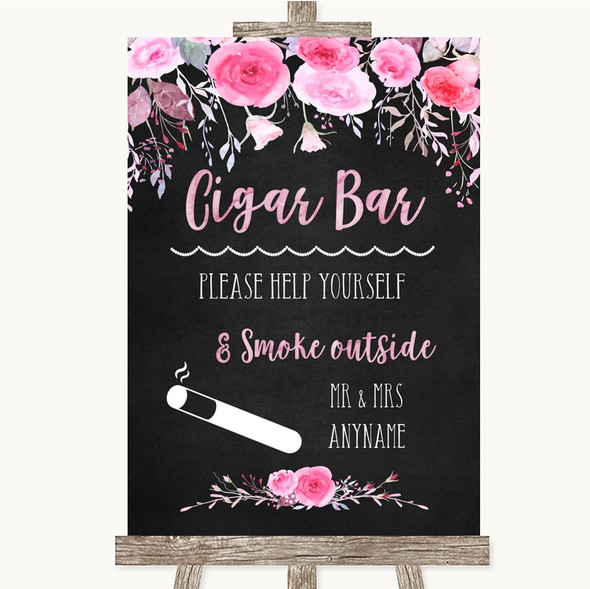 Chalk Style Watercolour Pink Floral Cigar Bar Personalised Wedding Sign