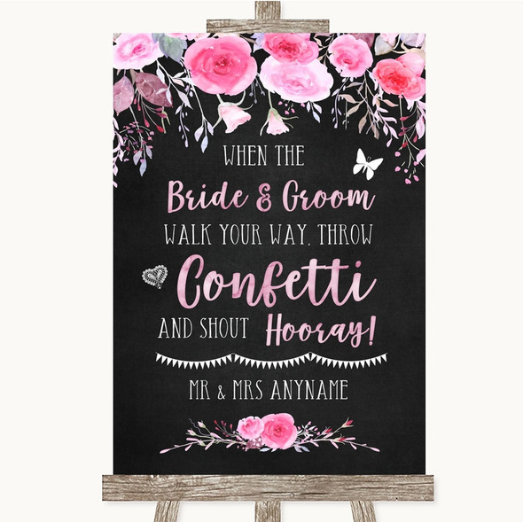 Chalk Style Watercolour Pink Floral Confetti Personalised Wedding Sign