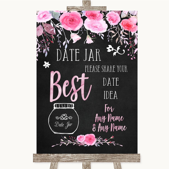 Chalk Style Watercolour Pink Floral Date Jar Guestbook Personalised Wedding Sign