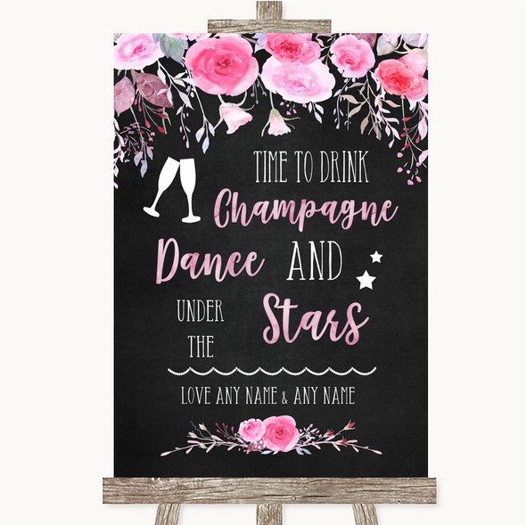 Chalk Style Watercolour Pink Floral Drink Champagne Dance Stars Wedding Sign
