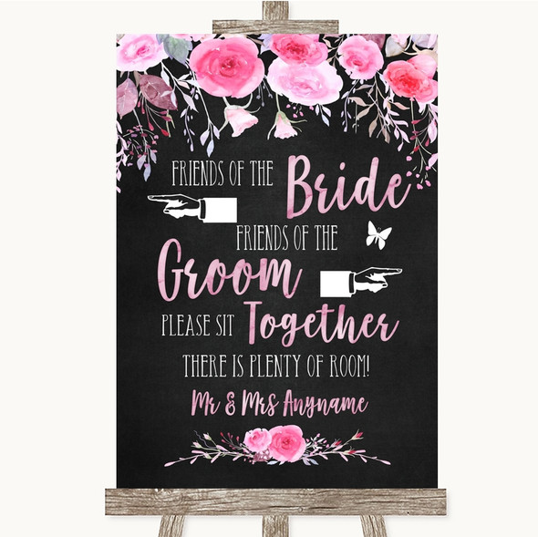 Chalk Watercolour Pink Floral Friends Of The Bride Groom Seating Wedding Sign