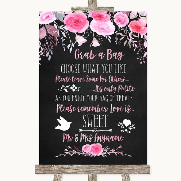 Chalk Watercolour Pink Floral Grab A Bag Candy Buffet Cart Sweets Wedding Sign