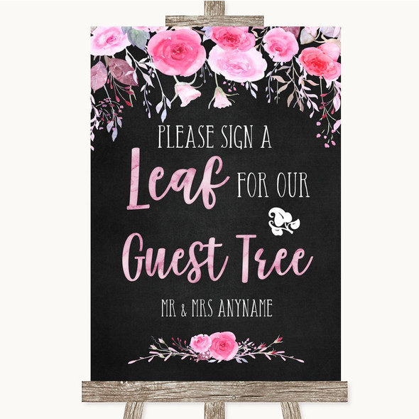Chalk Style Watercolour Pink Floral Guest Tree Leaf Personalised Wedding Sign