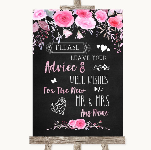 Chalk Watercolour Pink Floral Guestbook Advice & Wishes Mr & Mrs Wedding Sign