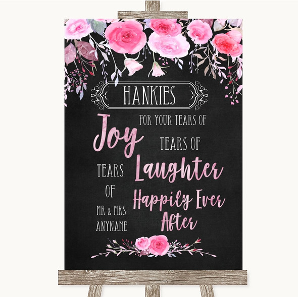 Chalk Style Watercolour Pink Floral Hankies And Tissues Wedding Sign