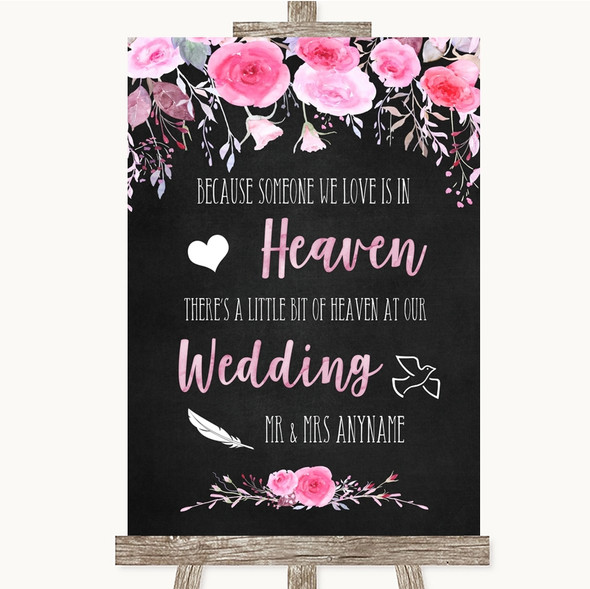 Chalk Style Watercolour Pink Floral Heaven Loved Ones Personalised Wedding Sign