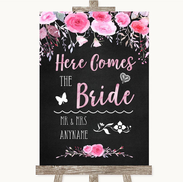 Chalk Style Watercolour Pink Floral Here Comes Bride Aisle Wedding Sign