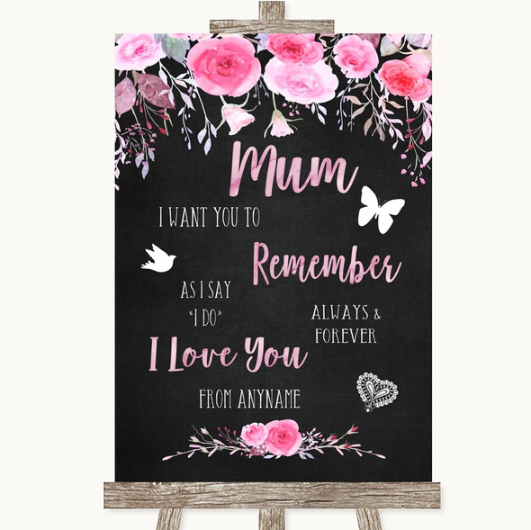 Chalk Style Watercolour Pink Floral I Love You Message For Mum Wedding Sign