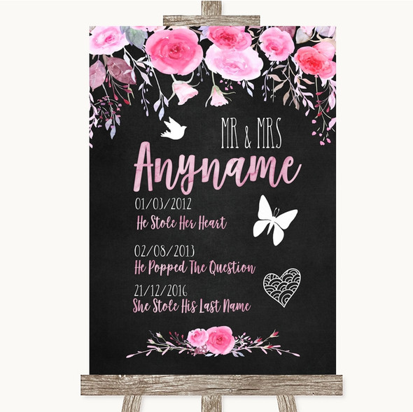 Chalk Style Watercolour Pink Floral Important Special Dates Wedding Sign