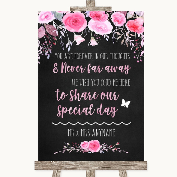 Chalk Style Watercolour Pink Floral In Our Thoughts Personalised Wedding Sign