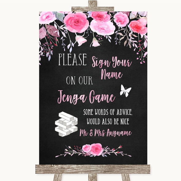 Chalk Style Watercolour Pink Floral Jenga Guest Book Personalised Wedding Sign