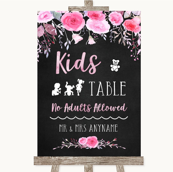 Chalk Style Watercolour Pink Floral Kids Table Personalised Wedding Sign