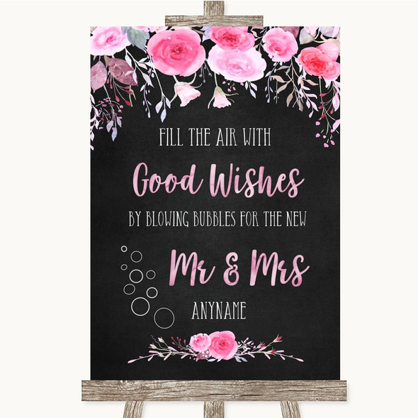 Chalk Style Watercolour Pink Floral Blow Bubbles Personalised Wedding Sign