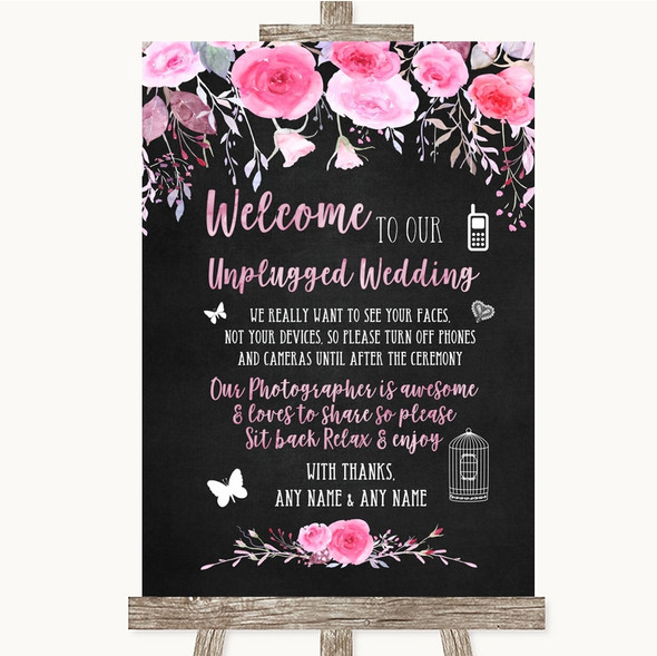 Chalk Style Watercolour Pink Floral No Phone Camera Unplugged Wedding Sign
