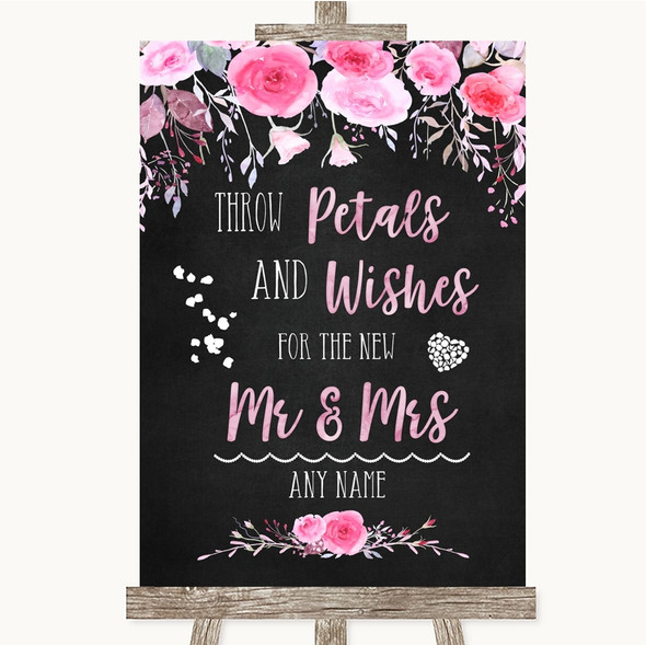Chalk Style Watercolour Pink Floral Petals Wishes Confetti Wedding Sign