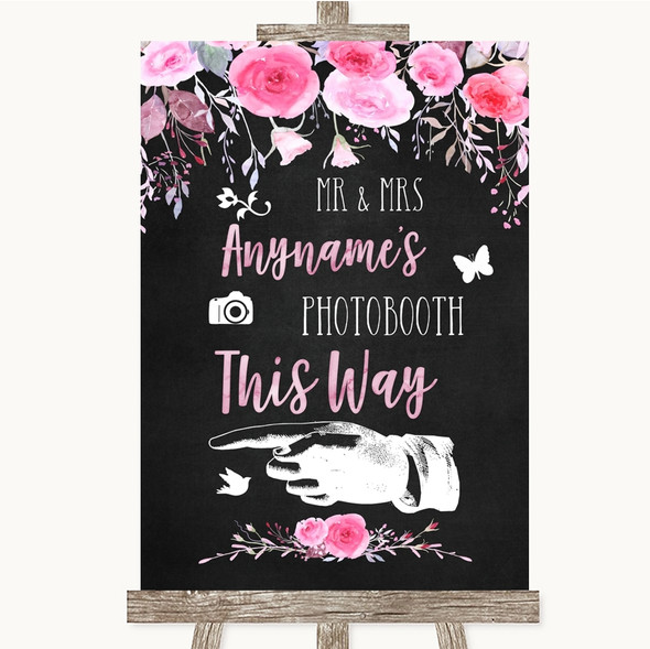 Chalk Style Watercolour Pink Floral Photobooth This Way Left Wedding Sign