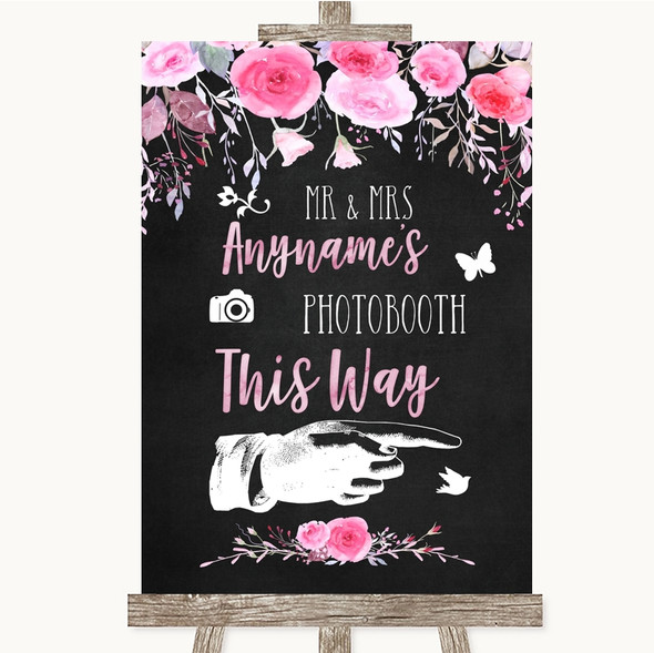 Chalk Style Watercolour Pink Floral Photobooth This Way Right Wedding Sign