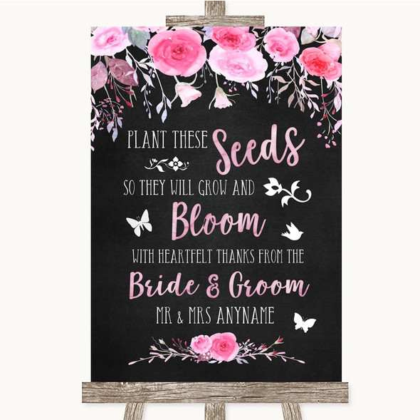 Chalk Style Watercolour Pink Floral Plant Seeds Favours Wedding Sign