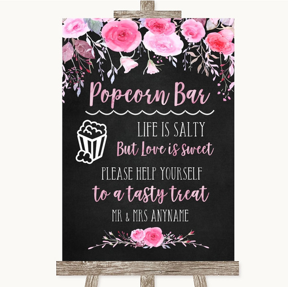 Chalk Style Watercolour Pink Floral Popcorn Bar Personalised Wedding Sign