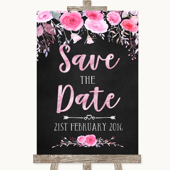 Chalk Style Watercolour Pink Floral Save The Date Personalised Wedding Sign