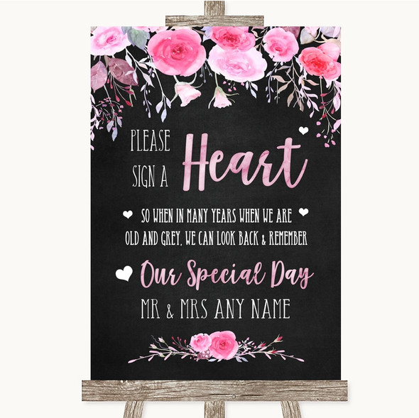 Chalk Style Watercolour Pink Floral Sign a Heart Personalised Wedding Sign
