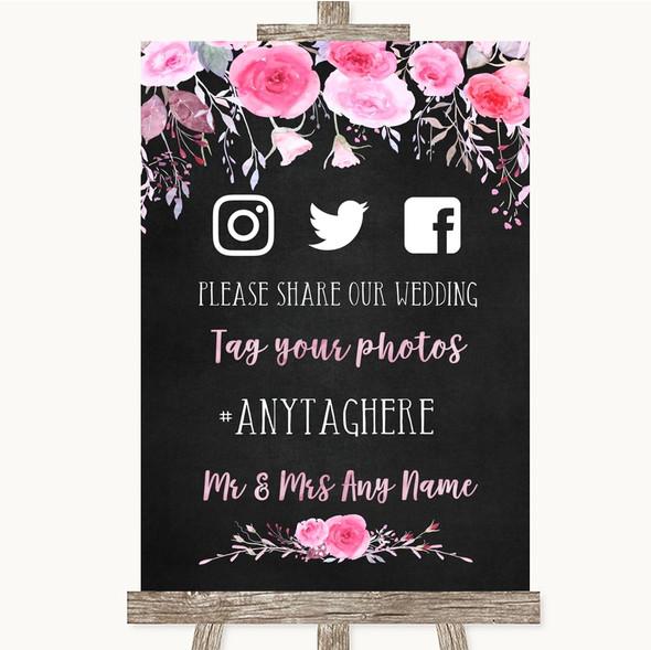 Chalk Style Watercolour Pink Floral Social Media Hashtag Photos Wedding Sign