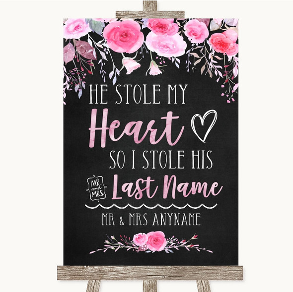 Chalk Style Watercolour Pink Floral Stole Last Name Personalised Wedding Sign