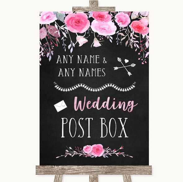 Chalk Style Watercolour Pink Floral Card Post Box Personalised Wedding Sign
