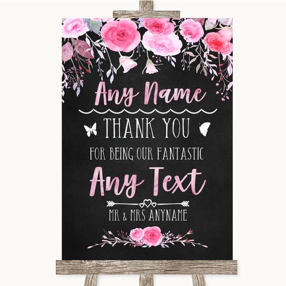 Chalk Watercolour Pink Thank You Bridesmaid Page Boy Best Man Wedding Sign