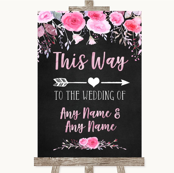 Chalk Style Watercolour Pink Floral This Way Arrow Right Wedding Sign