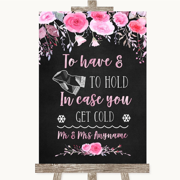 Chalk Style Watercolour Pink Floral Wedding Blanket Scarf Wedding Sign