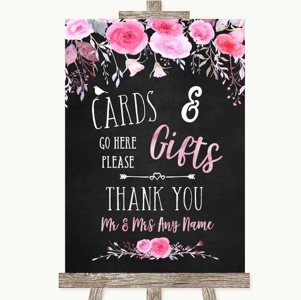 Chalk Style Watercolour Pink Floral Cards & Gifts Table Wedding Sign