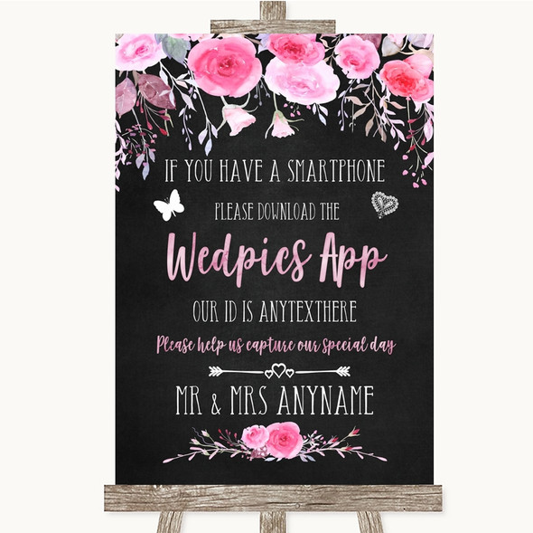 Chalk Style Watercolour Pink Floral Wedpics App Photos Personalised Wedding Sign